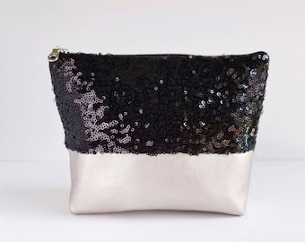 Sequin and Faux Leather Cosmetic & Toiletry Bag - Black Sequin, Champagne Silver Faux Leather, Satin Lining