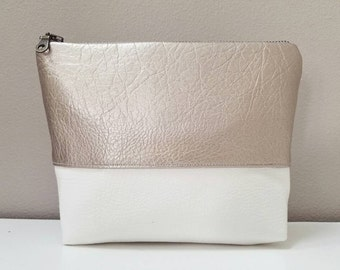 Faux Leather Cosmetic & Toiletry Bag - Champagne Gold  Faux Leather, Off-White Faux Leather, Matte Satin Lining