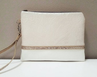 Blush and Off-White Faux leather Wristlet - Embossed Damask, Gold Rosegold Sequin and Beaded Trim, Strap