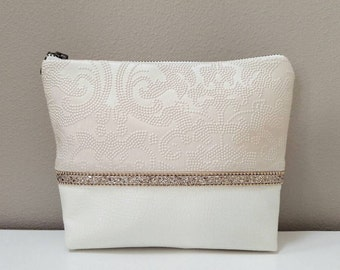 Faux Leather Cosmetic & Toiletry Bag - Blush Damask Faux Leather, Off-White Faux Leather, Matte Satin Lining, Gold Sequin Beaded Trim
