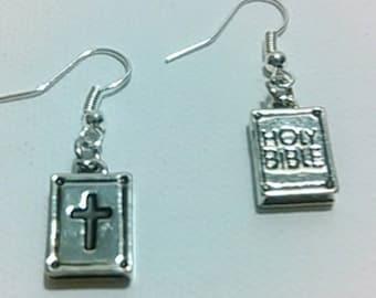 Rhodium Holy Bible Charm earrings. Religious earrings. Religious jewelry. Bible earrings. Bible charms. Bible jewelry. Worship jewelry.