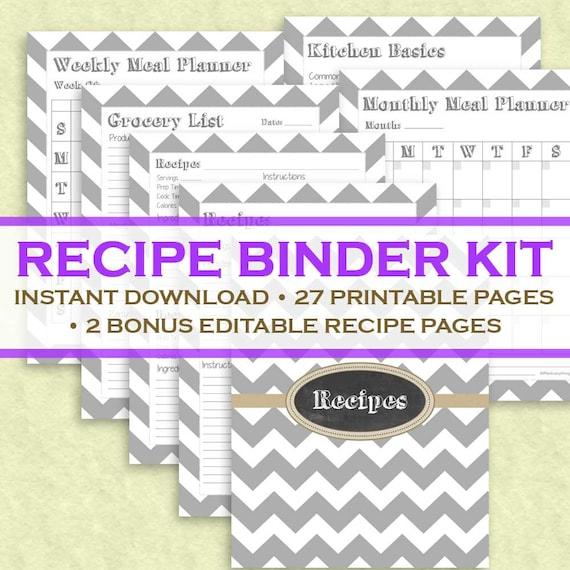 Printable Recipe Binder Kit  29 Printable Pages Instant