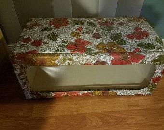 Vintage Henry A. Enrich & Co. Model Home Vinyl Quilted Storage Box