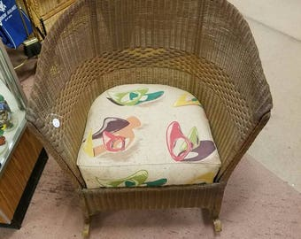 Vintage Wicker And Wood Rocking Chair