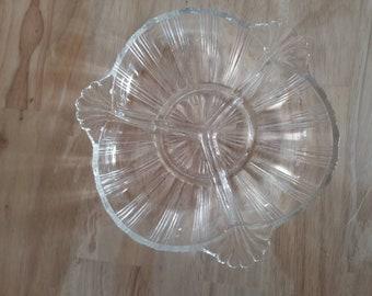 Vintage Glass Divided Relish Dish