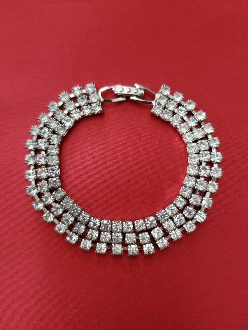 041ea3dd73 Art Deco 3-row Rhinestone Bracelet