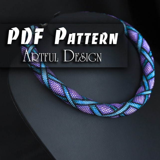 Pdf Pattern For Beaded Crochet Necklace Cbb File Jewelry Etsy