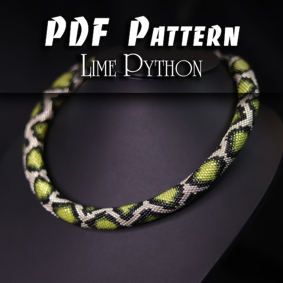 PDF Pattern for Snake Necklace, DIY Seed Bead Crochet Art Project, Multicolour Handmade Beadwork, Rope Jewelry Beadweaving Crafter Gift