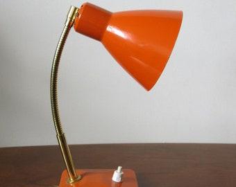 Vintage Mid Century Modernist 50s French Orange 20th Century Desk Lamp