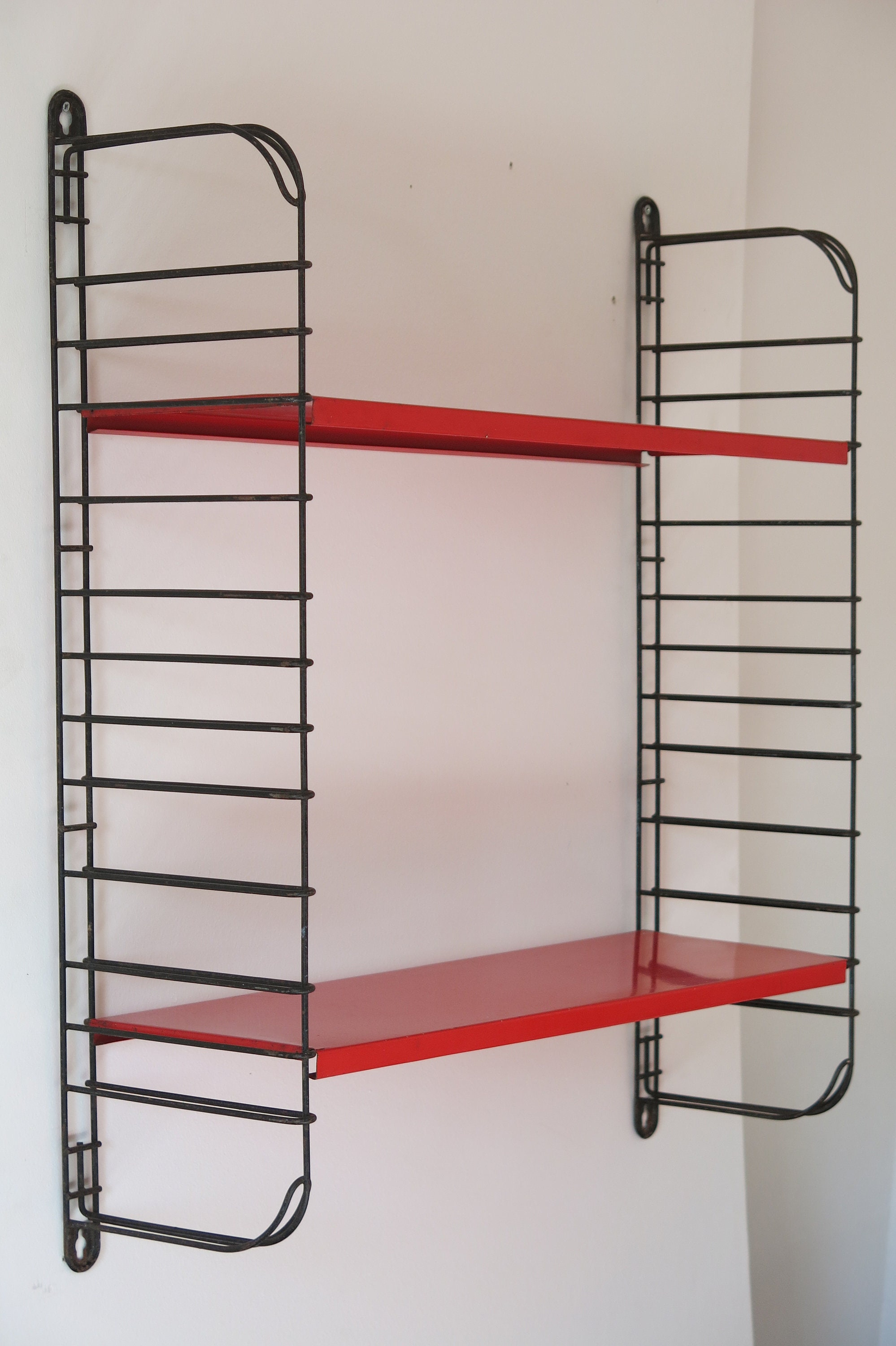 Vintage Mid Century Red Dutch String Shelving Unit