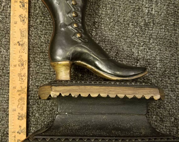 FREE SHIPPING-Victorian-Cast Iron-Lady's-Boot-On A Pedestal-Match Holder-Door Stop-Antique