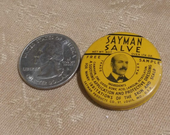 "FREE SHIPPING- Vintage ""Sayman Salve"" Sample Hand Salve Tin. Excellent Graphics on Both Sides. 1-5/8""Diameters Across"