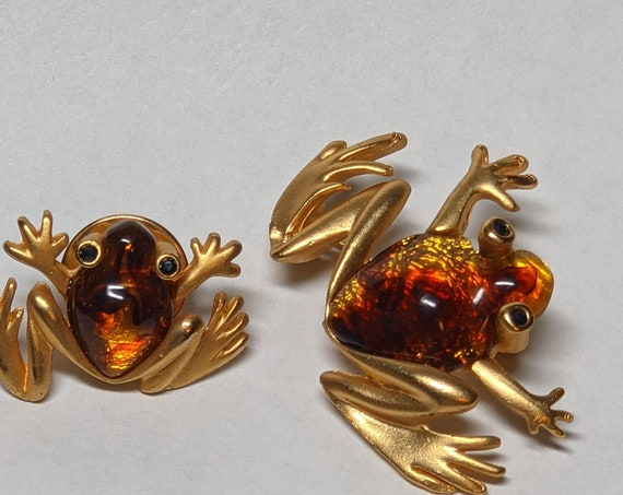 FREE SHIPPING- Vintage Pair of Satin Finish, Gold Tone Frog Brooches with Colored Glass Backs & Black Glass Eyes. See Item Description