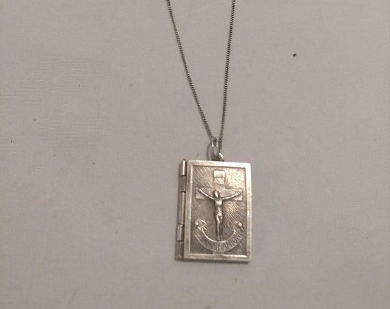 """FREE SHIPPING- Vintage Sterling Hinged Catholic """"My Companion"""" Book Necklace with Jesus/Mary/Joseph Pendant Book"""