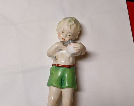 FREE SHIPPING- Vintage Royal Worcester Porcelain Figurine- Boy feeding kitten- Friday's Child is Loving and Giving. #3261.