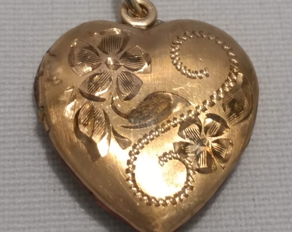 FREE SHIPPING- Gold Plated Heart Locket Pendant with Engraved Flowers & Scrolls