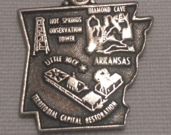 FREE SHIPPING- Sterling Silver Charm for Charm Bracelet: Arkansas State Charm