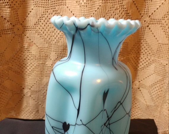 FREE SHIPPING- Vintage Blue Luster Glass with Black Swizzle & Heart Pattern- Hanging Hearts by Fenton Glass.