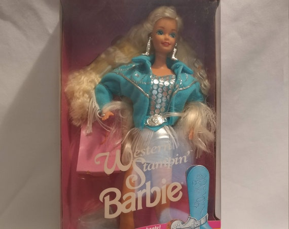 FREE SHIPPING- 1993 Western Stampin' Barbie Doll. #10293. New in Box