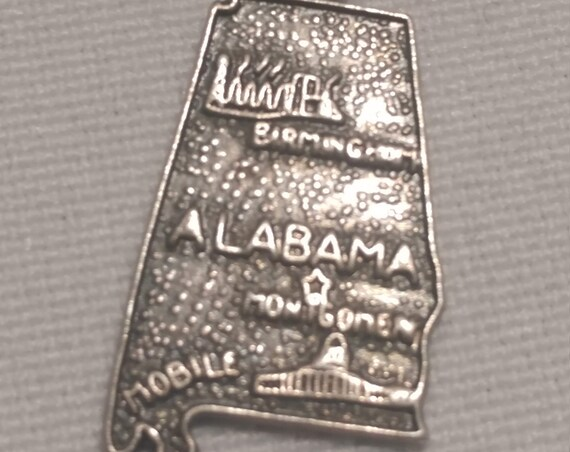 FREE SHIPPING- Sterling Silver Charm for Charm Bracelet: Alabama State Charm