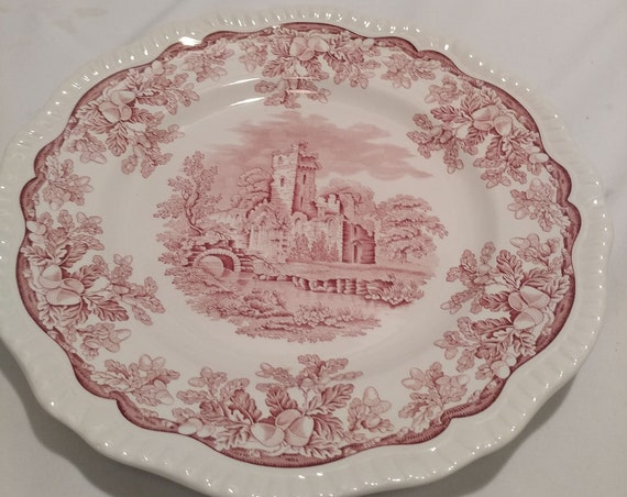 """FREE SHIPPING- Spode Archive Collection-Cranberry Print. Scalloped Edges Regency Series  10-7/8"""" Diameter Dinner Plates. """"Ruins"""""""