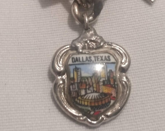 FREE SHIPPING- Vintage Sterling Silver with Charm for Charm Bracelet. Dallas Texas City Scape under Epoxy Dome