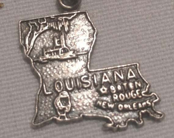 FREE SHIPPING- Sterling Silver Charm for Charm Bracelet: Louisiana State Charm