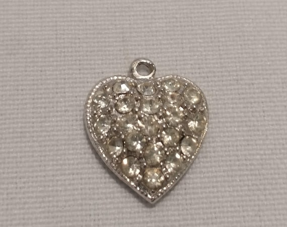 FREE SHIPPING- Sterling Silver Charm for Charm Bracelet: Shiny Silver Heart Covered in Rhinestones