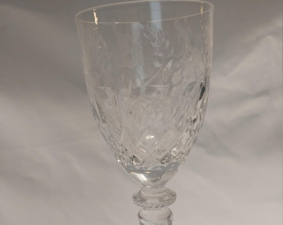 "FREE SHIPPING - Vintage Rogaska Gallia 7-3/4"" Tall Wine Glass. Excellent Condition!"