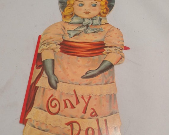 "FREE SHIPPING- Vintage Doll Shaped Paperback Children's Book. ""Only a Doll"" by Helen Marion Burnside. Full Color Pages Printed Front & Back."