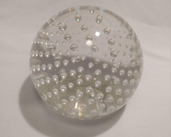 FREE SHIPPING- Italian Made Spherical Paperweight with Uniform Controlled Bubbles inside. Excellent Condition! Beautiful Item!