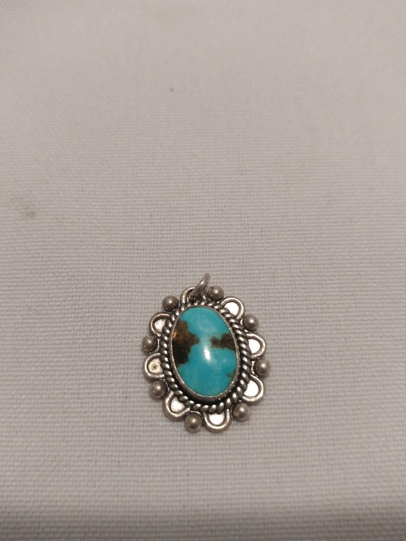 FREE SHIPPING- Sterling Silver Charm for Charm Bracelet/Necklace Pendant:925 Mexican Sterling Silver with Turquoise Stone.