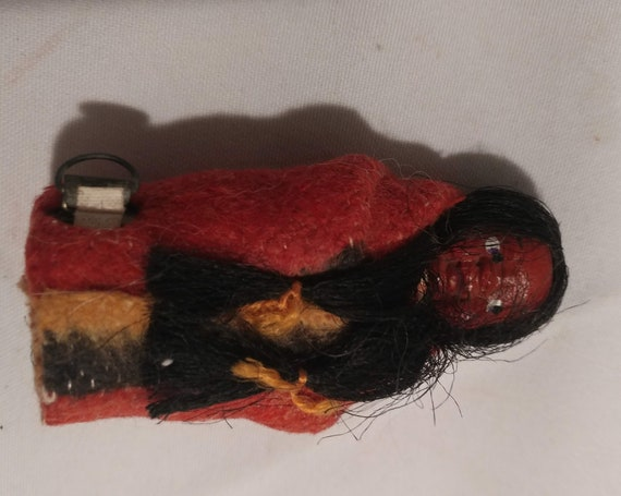 "FREE SHIPPING- Vintage Native American ""Snookum"" Sewing Tape Measure Doll. Made in Japan. 3"" Tall."