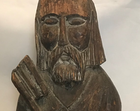 FREE SHIPPING-German-Black Forest-Oak-Carved-St. Peter-Icon-Santos-Statue