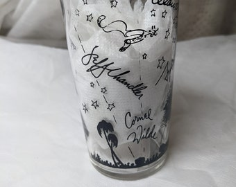 See Item Description FREE SHIPPING #6:Brown Design.Vintage Rare Libbey Glass Tumbler with Autographs of Hollywood Icons /& Iconic Landmarks
