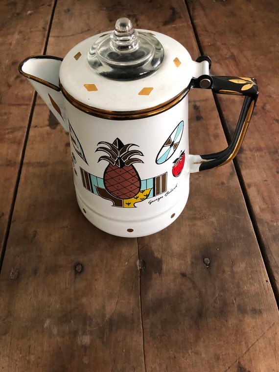 FREE SHIPPING-Retri-Enamel-Coffee-Tea-Pot-George Briard-Pineapple-Glass Top