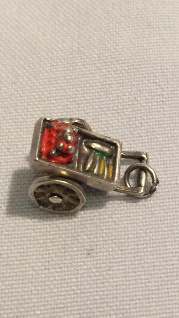 FREE SHIPPING-Vintage-1940's-Sterling Silver-Enamel-Vegetable-Cart/Wagon-Movable Wheels