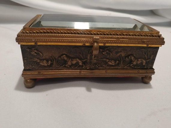 FREE SHIPPING- Antique Victorian Mixed Metal Dresser/Trinket Box. High Relief Hunting Scene, Beveled Glass Lid. Pillowtop Interior
