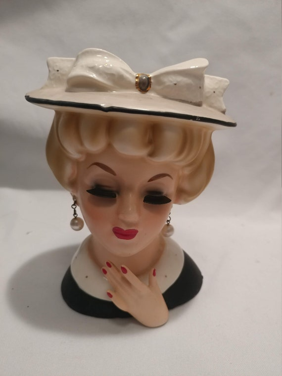FREE SHIPPING- Porcelain Lady Head Vase. Velco # 3749. Wide Brimmed Hat with Gold Accented Bow. Faux Pearl Dangle Earrings & Necklace.