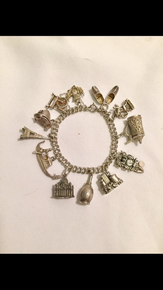 FREE SHIPPING-Vintage-1940's-Memories-European-Vacation-Souvenir-Travel-800 Silver-12 Charm Bracelet