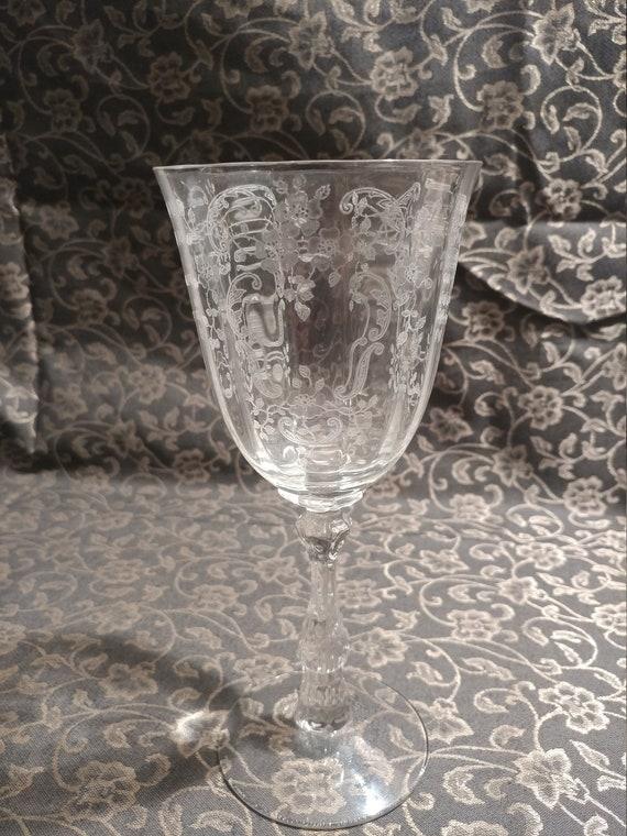 "FREE SHIPPING- Fostoria Elegant Depression Glass  ""Meadow Rose Clear"" Paneled Glass Bowl, Optic Stem # 6016. Water/Wine Glass."