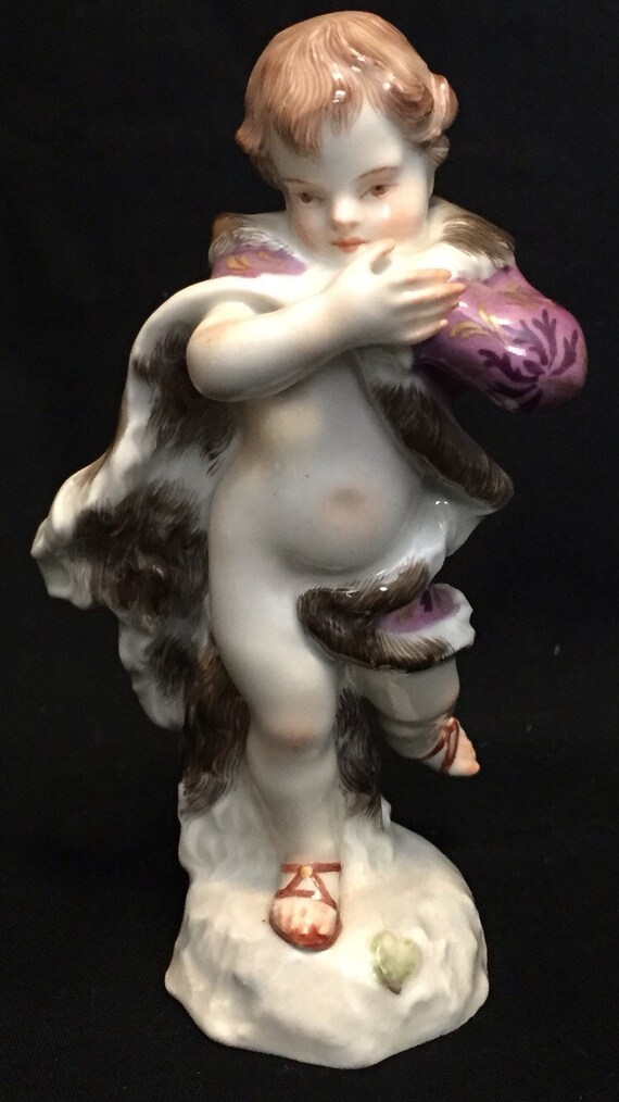 FREE SHIPPING-Antique-Meissen-Germany-#274-O-Boy In Long Fur Coat-Hand Painted-Double Crossed Swords