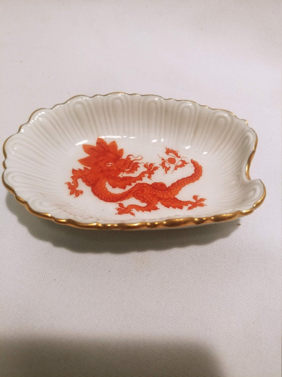 FREE SHIPPING- Vintage White Porcelain Small Ashtray with Gold Rimmed Edge & Red Dragon Imprint
