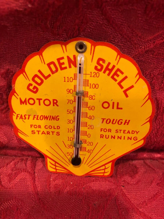 FREE SHIPPING-Golden Shell Motor Oil-Thermometer Hat Pin