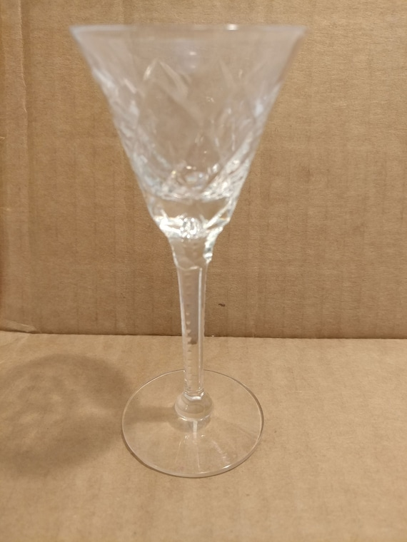 "FREE SHIPPING- Vintage Gothic by Seneca. 4-5/8"" Tall Cordial Glass. Blown Glass, Bubble in Multi-Faceted Stem."