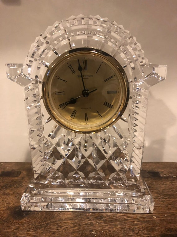 FREE SHIPPING-Waterford-Ireland-Signed-7 Inch-Mantle Clock-Excellent Condition-Quartz Japan