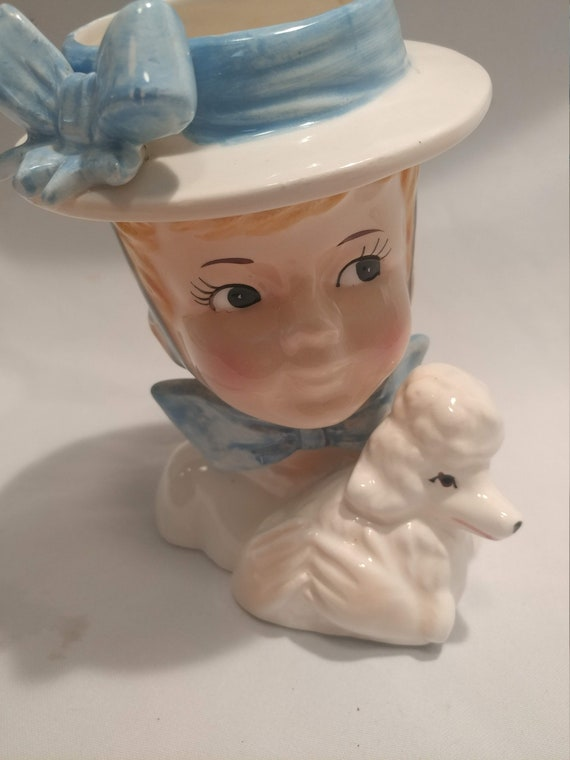 "FREE SHIPPING- Vintage Inarco Porcelain Head Vase. Teen Girl with her Poodle ""Fifi"" 6-3/4"" Tall. Glossy Glaze. Blue Ribbon on White Hat"