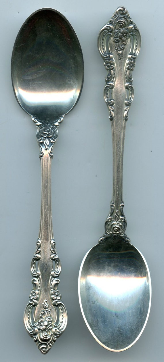 "FREE SHIPPING-Set Of 2-Vintage-Towle-Sterling Silver-1964-El Grandee-81.5 Grams-6 1/8""-Spoons-No Monogram"