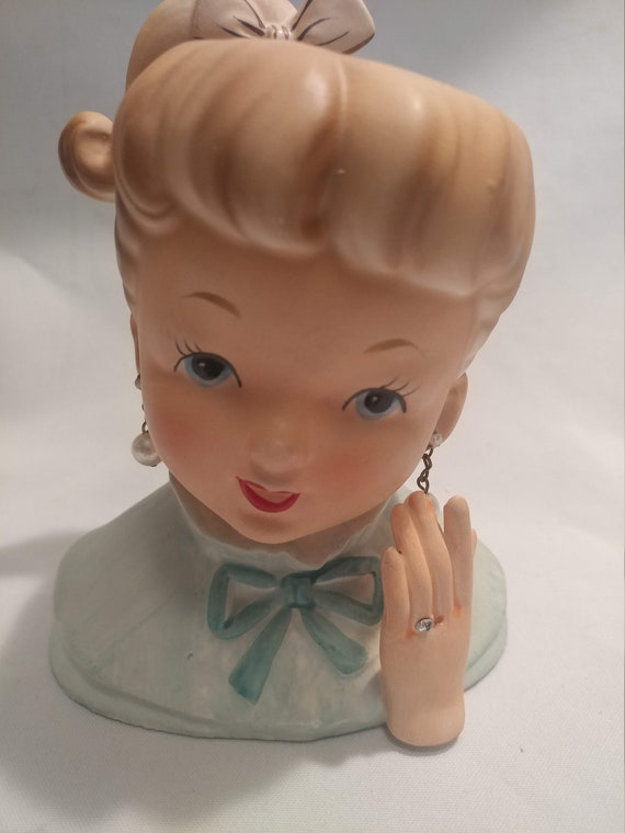 "FREE SHIPPING- Napcoware Porcelain Teen/Young Lady Head Vase. New Engagement. Displaying her lovely ring. 5-3/4"" Tall"