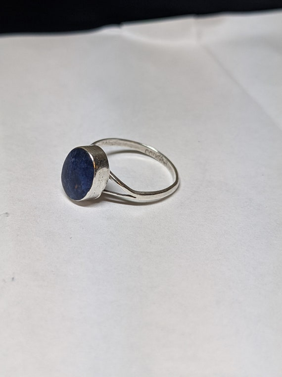 FREE SHIPPING- Vintage Sterling Silver Ring with Oval, Blue Lapis Lazuli Stone. Artist's Mark on the inside of the band. Size 7